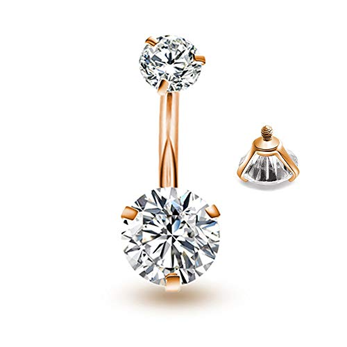 Belly Button Rings Round Cubic Zirconia Navel Barbell Stud Body Piercing(Rose Gold+Clear)