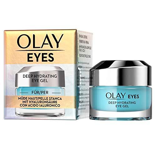 OLAY Eyes Deep Hydrating Eye Gel, 15ml, für Eine Müde und Trocken Aussehende Augenpartie, mit Hyaluronsäure, Gurkenextrakt, Niacinamid und Peptiden Pflegt und Erfrischt Die Augen