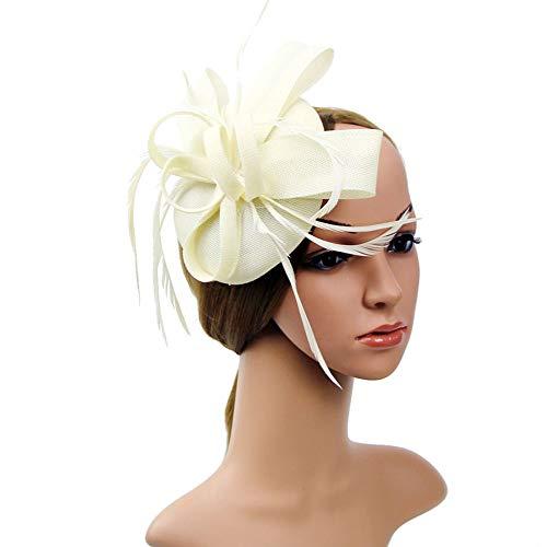 D&XQX Fashion Women Flower Hair Clip, Feathers Small Mini Top Hat Wedding Fascinator Royal Ascot Race Accessories,Beige