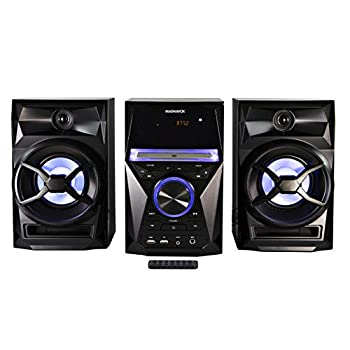 Magnavox MM441 3-Piece CD Shelf System with Digital PLL FM Stereo Radio Bluetooth Wireless Technology and Remote Control in Black   Blue Colored Speaker Lights   LED Display   AUX Port Compatible  
