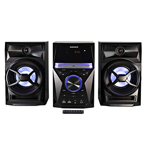of lg shelf stereos Magnavox MM441 3-Piece CD Shelf System with Digital PLL FM Stereo Radio, Bluetooth Wireless Technology, and Remote Control in Black | Blue Colored Speaker Lights | LED Display | AUX Port Compatible |
