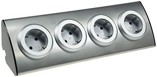 ChiliTec 4-fach Edelstahl Ecksteckdose mit 4x Schutzkontakt-Steckdosen 230V, 45° Winkel mit erhöhtem Berührungsschutz Aufbau-Steckdose für Küche, Büro, Bad