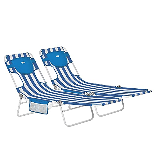 Outsunny 2er-Set Sonnenliege Gartenliege mit Leseöffnung 5-stufig einstellbar Gartenmöbel PVC-Gewebe+Metall Blau+Weiß 182 x 55 x 28 cm