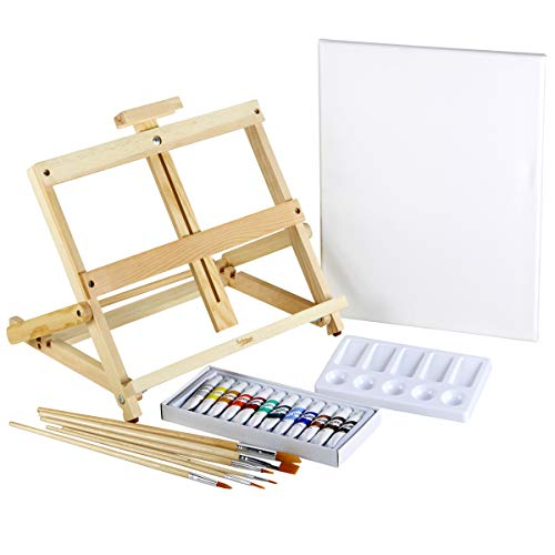 Artlicious - 21 Piece Complete Easel Set - Easel, Stretched Canvas, Acrylic Paints, Paint Brushes & Palette (21 Piece Set)