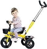 HUJPI Triciclo Infantil, Triciclo para Niños con Empujar la manija Triciclos Bebes con Caja de Almacenamiento de bebé Triciclo Triciclo del bebé de la Bici,Yellow