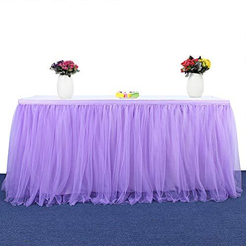 Fashionbeautybuy - Gonna da tavolo in tulle, tovaglia per feste di matrimonio, 1,8 m, 2,7 m, 4,3 m, Purple, 182 cm