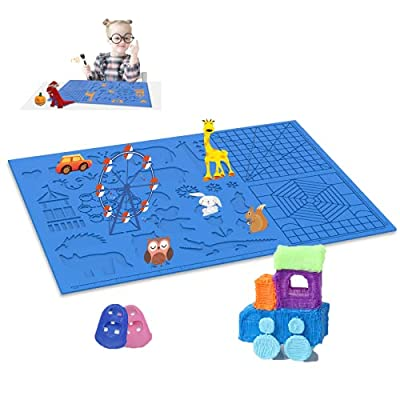 Dikale 3D Pen Silicone Mat Large Size, 3D Printing Pen Drawing Template with Basic Animal Patterns, 3D Drawing Accessory with 2 Finger Protectors, Gift for Kids & Adults, Blue