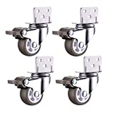 GAXQFEI Niture Casters L Bracket Universal Swivel Silent Rubber Garden Wheels with Brake 1 inch 1.5 inch 2 inch 120-200Kg for Flower Stand Cabinet Baby Cot 4 Packs,2 Swivel 2 Brakes,1 inch