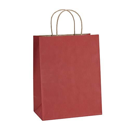 Einkaufstaschen 20,3x 12,1x 26,7cm 100bagdream, cub, Papier Taschen, Kraft Tüten Geschenktüten, Retail Taschen, Rot Streifen Beutel mit Griffen, Craft Papier-Staubsaugerbeutel