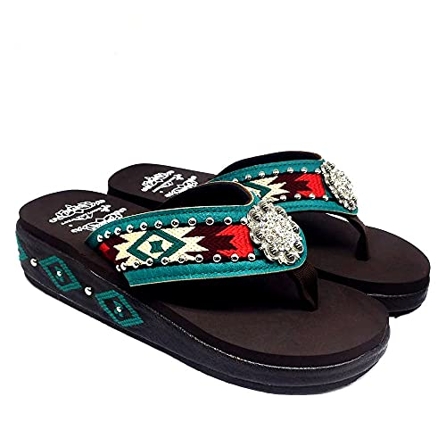 Montana West Sandals For Women American Comfort Flip Flops Slippers Western Bling Bling Summer Wedge Sandals Turquoise Size 7 SE88-S001 TQ7