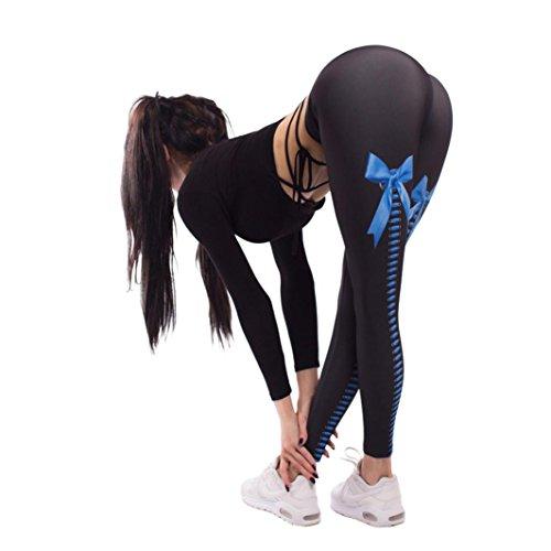 Xinan Damen Yoga Hose Frauen Sport Gym Yoga Workout Mid Taille Running Pants Fitness Elastische Leggings (S, Blau)