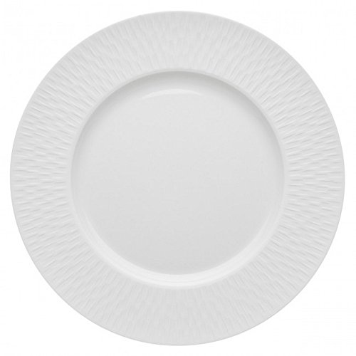 DEGRENNE - Boreal Satin Lot de 6 assiettes plate ronde, porcelaine 28,5 cm - Blanc