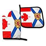 Fuyon Nova Scotia Canada Flag Oven Mitts and Potholders BBQ Gloves-Oven Mitts and Pot Holders Cooking Gloves for Kitchen Cooking Baking Grilling Set of 2
