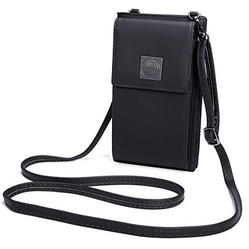 OURBAG Billetera de cuero con estilo de las mujeres Monedero pequeño y lindo Mini bolso de hombro Bolsa de teléfono Negro