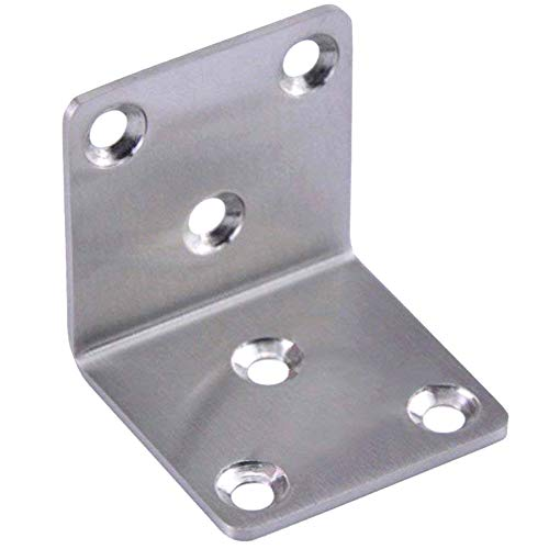 Hyever Stainless Steel 90 Degree Right Angle Brackets Fastener Corner Braces with Screws L Shape Joints Plate 6 Pcs