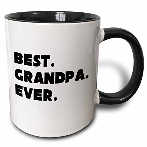 3dRose Best Grandpa Ever-Two Tone Black Mug, Ceramic, 10.16 x 7.62 x 9.52...