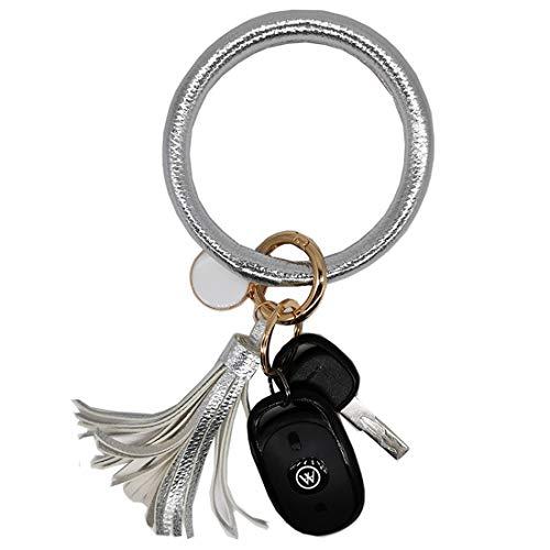 AnnabelZ Schlüsselanhänger, Armband, Armband, großer Armreif, Schlüsselhalter, runder O-Schlüsselring, Leder, Quaste für Damen und Mädchen, Silber (silber), Small