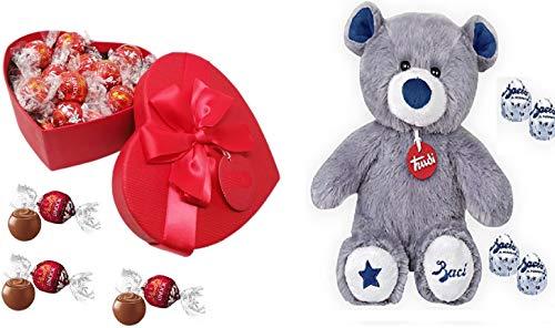 Scatola SAN VALENTINO rossa a forma di cuore con 250 gr di cioccolatini al latte LINDT + PELUCHE orsetto TRUDI con 87 gr di baci PERUGINA, idea regalo san valentino KIT
