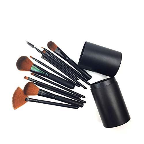 Gobesty Make-up kwastenset met etui, 12 stuks cosmetische borstel, oogschaduw, gezichtsmake-uppenseelset, zwart