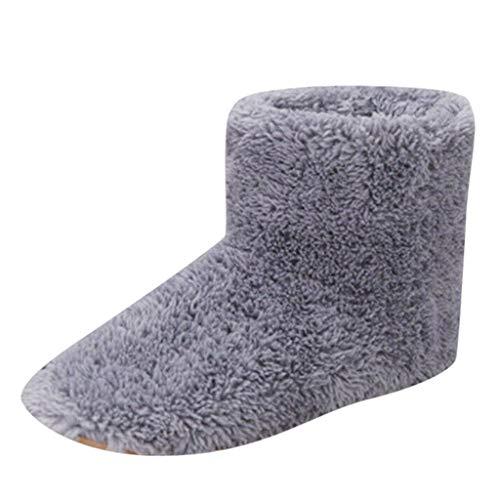 AmyGline Hausschuhe Damen Herren Pantoffeln Winter Verstecken USB Aufladen Elektrische Beheizte Hausschuhe Schneestiefel Hause Boden Drinnen rutschfeste Slippers Flache Schuhe Schlappen