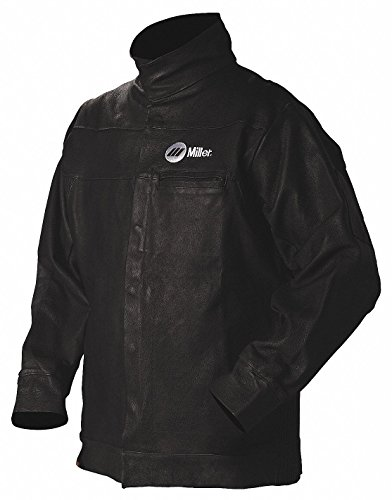 "Miller Electric Black Pigskin Leather Welding Jacket, Size: 2XL, 30"" Length"