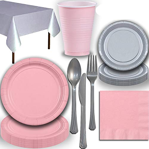 Disposable Party Supplies, Serves 40 - Light Pink and Silver - Large and Small Paper Plates, 12 oz Plastic Cups, Heavyweight Cutlery, Napkins, and Tablecloths. Full Two-Tone Tableware Set