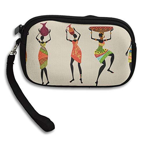 Poche à Monnaie Femmes africaines Robe Traditionnelle néoprène Zip Sac cosmétique Poche de pièces de Monnaie Poche Unique avec Sangle 6x3.7x0.2inch pour Fille Adulte Femmes Enfants