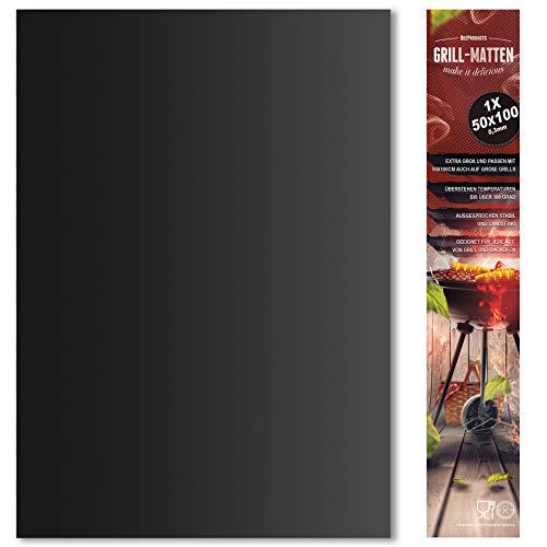 BeeProducts Grillmatte Set Extra Groß Zum Grillen und Backen Rechteckig oder Rund (50x100 cm)