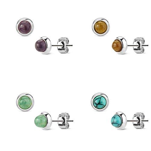 Beyoutifulthings Damen 1 Paar Stud Ohr-ring Set Ohr-Stecker Chirurgenstahl Halbedelsteine eingefasst Amethyst Grüne Jade Tigerauge Türkis Set