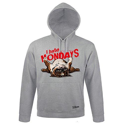 Siviwonder Unisex Kapuzen Sweatshirt Englische Bulldogge Monday Wilsigns Heather Grey XL