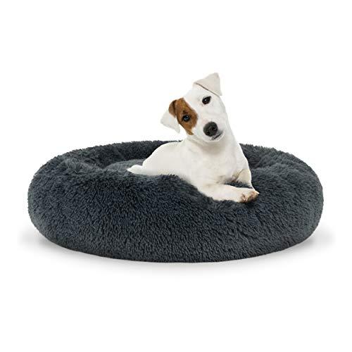 The Dog's Bed Sound Sleep Panier pour chien en forme de donut avec housse amovible Gris acier