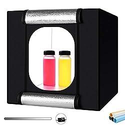 Foto Zelte, Heorryn 40 x 40 x 40cm Faltbare Fotostudio Lichtzelt Kit mit 126 Dimmbare LED-Beleuchtung und 5 Farbhintergründen für die Fotografie (16''/40cm)
