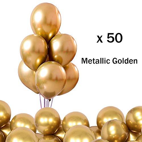 O-Kinee Glänzende Metallic-Luftballons für Geburtstage, Hochzeiten, Babypartys und Weihnachtsdekorationen Packung mit 50 Stück (Golden)