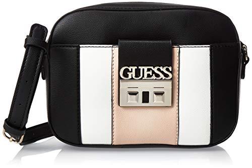Guess Kamryn Crossbody Top Zip, bolso bandolera para Mujer, Multicolor (Black Multi), 6x16x22 Centimeters (W x H x L)