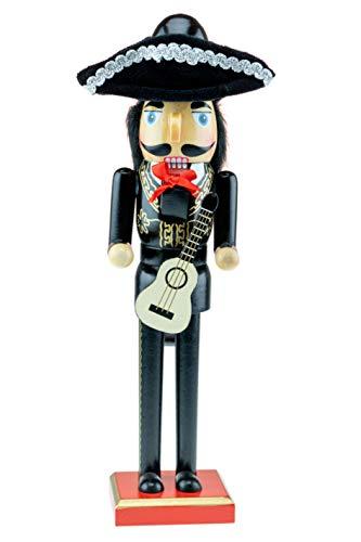 Clever Creations - Mariachi-Gitarrist als weihnachtlicher Nussknacker - traditionelle Deko-Figur aus Holz mit schwarz-goldfarbenem Charro-Outfit & Hut - 35,5 cm