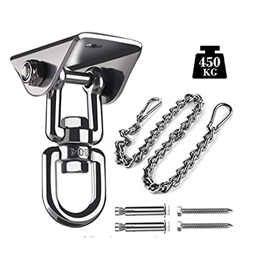 JJyy Juego de ganchos giratorios para colgar hamaca de acero inoxidable con cadena para silla oscilante