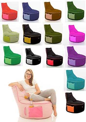 GlueckBean Hochwertiger Sitzsack mit Seitentaschen - Indoor & Outdoor - Gaming Sessel Sitzkissen mit Styroporkugeln Füllung - auch ideal für Kinderzimmer- Schawrz mit Türkis