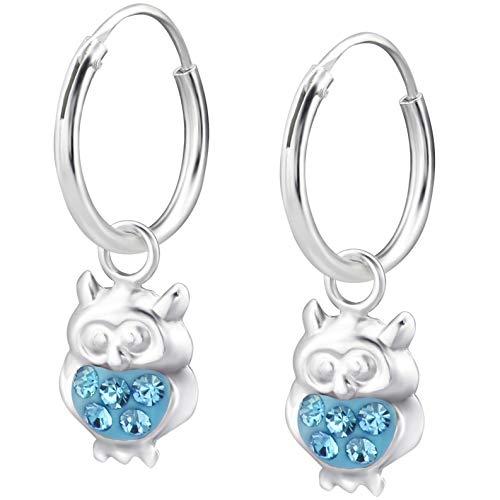 JAYARE Ohrringe Mädchen Eulen 925 Sterling Silber Glitzer-Kristalle blau Kinder Creolen