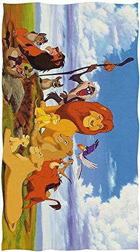 QWAS Toalla de playa The Lion King Simba Zazu para niños, absorbente, ideal para playa y piscina (A03,90 cm x 180 cm)