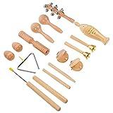 EXCEART Juego de Instrumentos Musicales para Niños Juego de Campanas de Mano Sonajero Martillo Maracas Shaker Juguete Woodeni Nperfors Juguetes para Bebés Pequeños