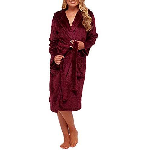 OSYARD Damen Bademantel in Rot | Weicher Damenbademantel | Morgenmantel mit Kapuze | Saunamantel mit Gürtel und Tasche | Hooded Fleece Bathrobe Nachtwäsche Saunamantel Große Größe