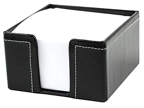 DELMON VARONE - Zettelkasten Cambridge Top Grain Leder schwarz, Zettelbox inkl. 500 Blatt Papier, Notizklotz in Echtleder Box für Schreibtisch & Büro, Ideal zum Notieren von Gedanken, Ideen & Notizen
