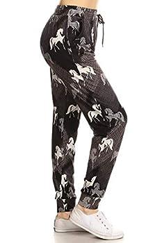 Leggings Depot JGA-R713SF-M Headstrong Horse Print Jogger Pants w/Pockets Medium