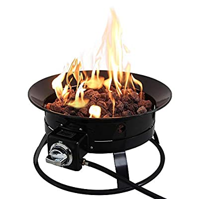 Outdoor 19'' Fire Pit, Wood Burning Metal BBQ Firepit Bowl with Bag Lava Rocks for Camping Picnic Bonfire Patio Backyard Garden Beaches Park Spark Screen Cover Log GrateShip from America Warehouse