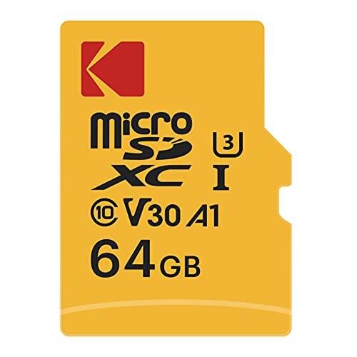 KODAK Scheda di Memoria Micro SD 64 GB, Classe 10 UHS-1 U3 V30 4K, con A1 App Performance, Fino a 100 MB s di Lettura, 35 MB s di Scrittura