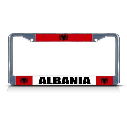 McC538arthy Metal Chrome License Plate Frame Albania Albanian Flag License Plate Frame Tag Holder Cover Car Tag Frame with Holes 6'×12'