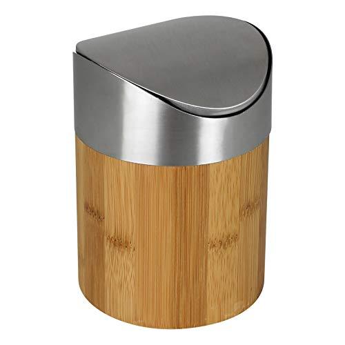 Tischmülleimer Bambus 1L Tischabfalleimer klein Kosmetikeimer Tisch Mülleimer Abfalleimer