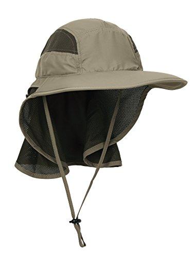 Unisex Gorra de Safari con Extra Largo Protector de Nuca 12cm Gran Borde para Actividades al Aire Libre Sol Protección UV - Actualizado el Tela Verde Oliva