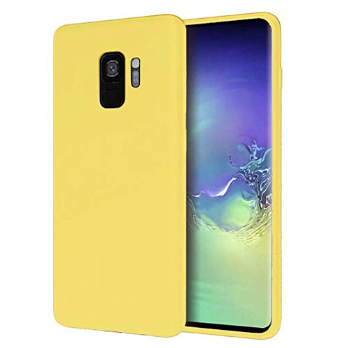 FHXD Kompatibel mit Samsung Galaxy S9 Hülle Weich TPU Flüssiges Silikon Schutzhülle+1*Displayschutzfolie Stoßfest Kratzfest Anti-Fingerprint Handyhülle-Gelb