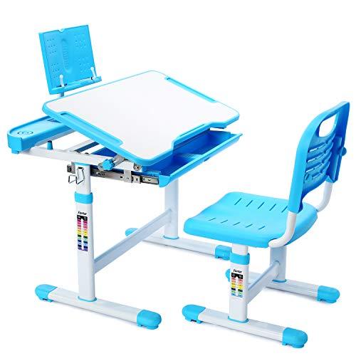 Forfar Kids Desk and Chair Set, Child Desk Height Adjustable Kids School Desk Students Desk and Chair Set, Desk for Kids 6-12, (Blue)